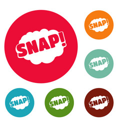comic boom snap icons circle set vector image