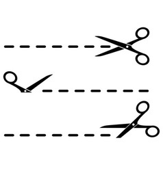 cut lines with black scissors vector image