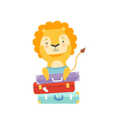 cute tourist lion sitting on suitcases animal vector image