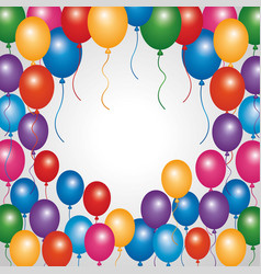 decorative border colored balloons party vector image