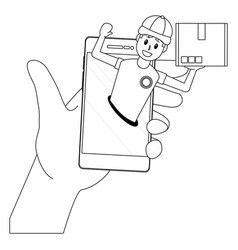Delivery guy going out cellphone vector