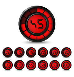 Digital black red timer with five minutes interval vector