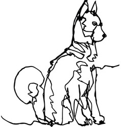 Dog continuous line black on white vector