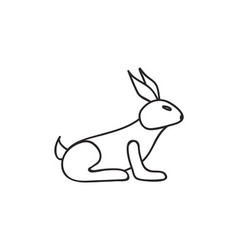 Doodle rabbit animal icon vector