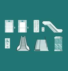 elevators and escalators set modern stair lifts vector image