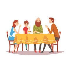 Family sitting at kitchen table drinking tea and vector