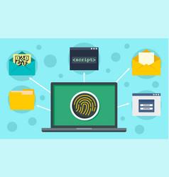Fingerprint laptop security concept background vector