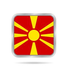 Flag of macedonia metallic gray square button vector