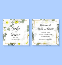 Floral card for wedding invitation delicate white vector