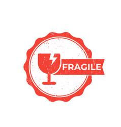 fragile sticker badge vector image