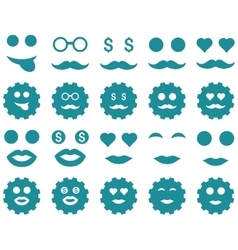 Gear and emotion icons vector