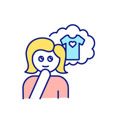 Girl dreaming about buying blouse rgb color icon vector