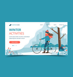 Girl with bike in park in winter landing page vector