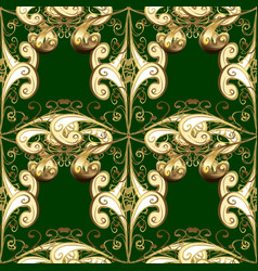 golden pattern on green colors with golden vector image