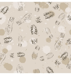 Grange seamless background with footprints vector image vector image