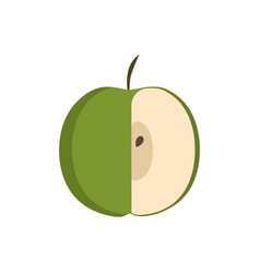 green half apple icon in flat design vector image