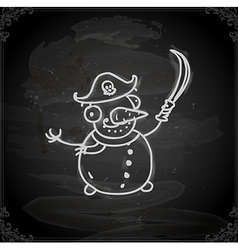 Hand Drawn Pirate Snowman vector