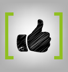 Hand sign black scribble vector