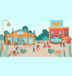 happy friends together on houses scene group of vector image