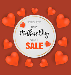 Happy mothers day greeting card with heart vector