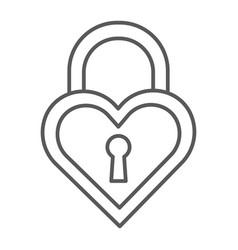 Heart shaped lock thin line icon love and locker vector