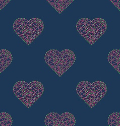 heart with connected lines and dots wireframe mesh vector image