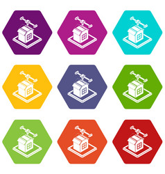 house d printing icons set 9 vector image
