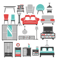 house furniture living room and bedroom sofa or vector image