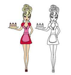Housewife serving cake with cream - funny doodle vector image