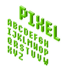 isometric 3d pixel font three-dimensional vector image