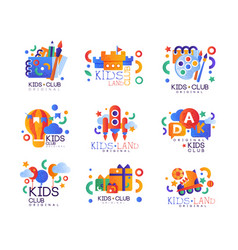 Kids club logo original set creative labels vector