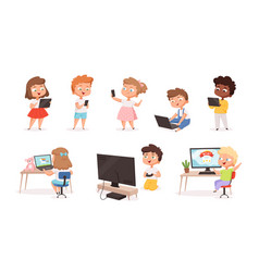 Kids using gadgets tablet pc smartphone laptop vector