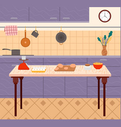 Kitchen nobody place with cooking food vector