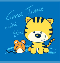 kitten and mouse cartoon vector image
