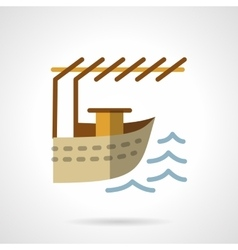 Landing for boat flat color design icon vector image