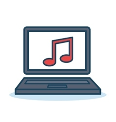 laptop music sound design isolated vector image