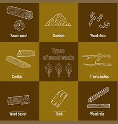 Line style icon collection - wood waste elements vector
