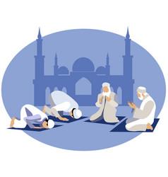 Man pray prayer in islam in minimalist style vector