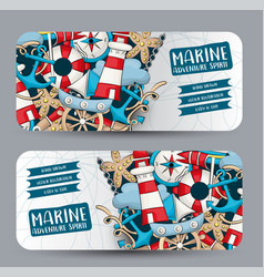 Marine nautical travel concept horizontal banner vector