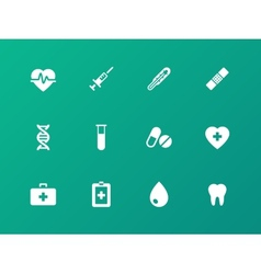 Medical icons on green background vector image