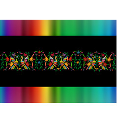Mexican traditional textile embroidery style vector