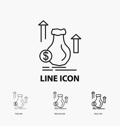 money bag dollar growth stock icon in thin vector image
