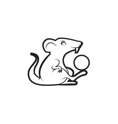 mouse paying with ball logo mascot vector image