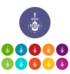 music store icons set color vector image
