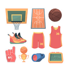 necessary basketball things set lined sports vector image