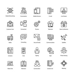 Network and communication line icons vector