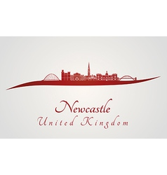 newcastle skyline in red vector image