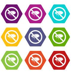 No flea sign icon set color hexahedron vector