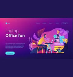Office fun concept landing page vector