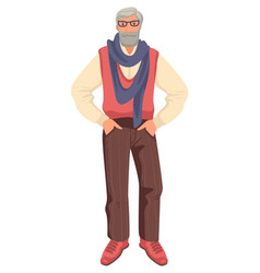 Old man in stylish outfit with glasses and scarf vector